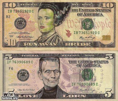 bills,currency,dollar bill,frankenstein,hacked,hacked irl,halloween,money