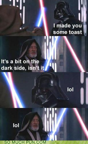 bad joke,dark side,darth vader,double meaning,fighting,Hall of Fame,obi-wan kenobi,star wars,toast