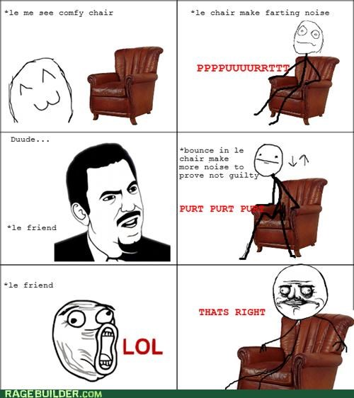 chair fart noises leather Rage Comics