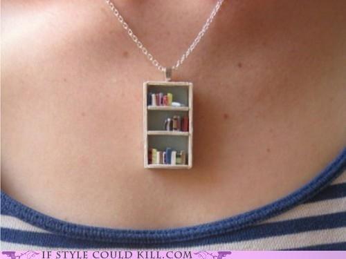 books bookshelf cool accessories necklaces - 5234295552