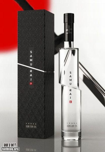alcohol bottle clever design drink samurai vodka