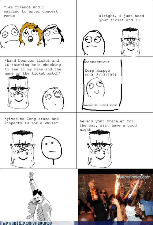 bouncer,concert,fist pump,id,Rage Comics,show,underage