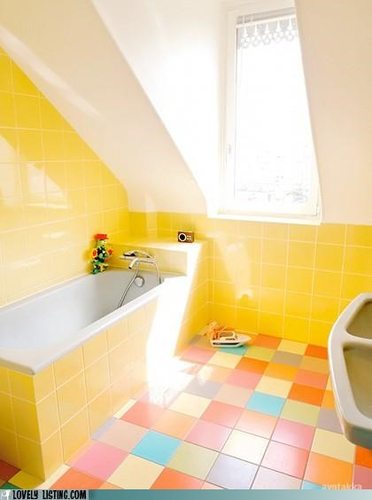 bathroom,bright,yellow