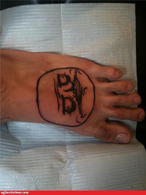 foot tattoo,me gusta,meme tattoos,no me gusta