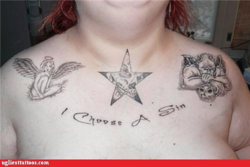 bad slogans,chest tattoo,i choose a sin