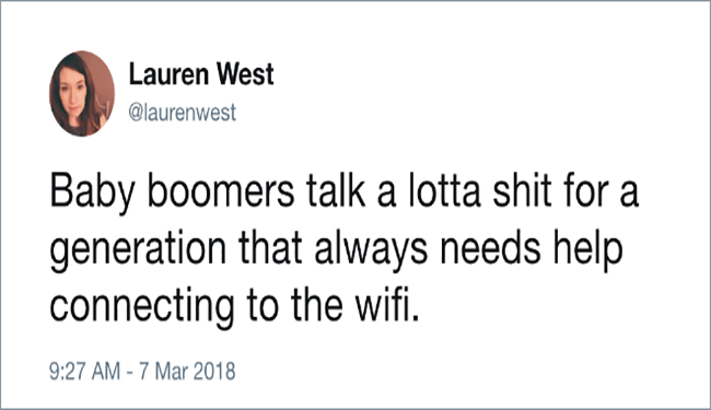 funny tweets comparing millennials to baby boomers generational gap
