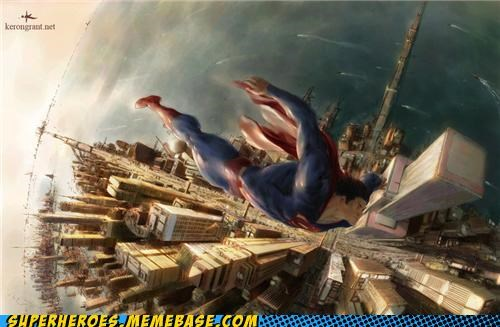 Awesome Art flying superman world