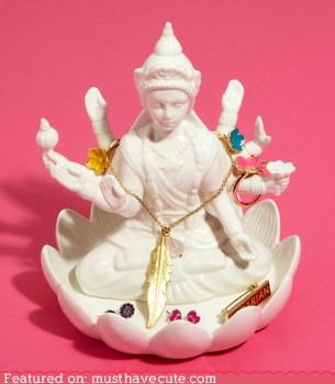 ceramic,dish,Jewelry,lakshmi,rings,statue