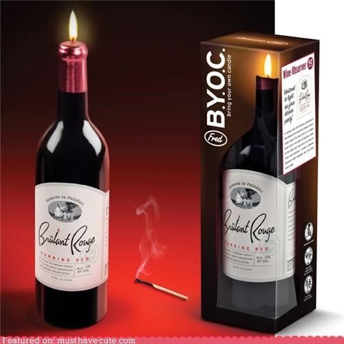 bottle,candle,decor,fake,illusion,wine