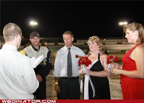 bride,cars,funny wedding photos,groom,nascar,racetrack,wedding