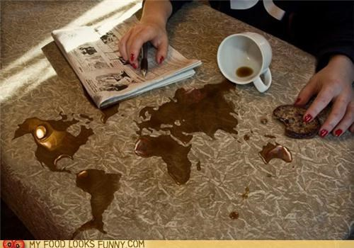 coffee,continents,map,spill,world