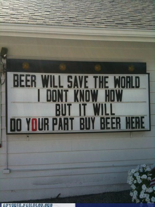 Ad beer For Great Justice liquor store save the planet