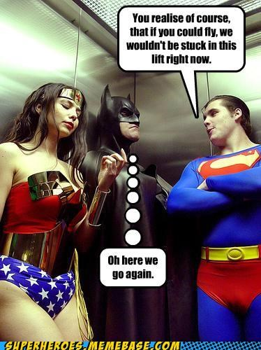 batman,elevator,Super-Lols,superman,wonder woman