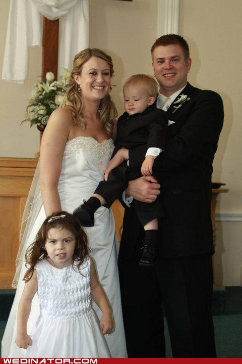 bride,children,funny wedding photos,groom,kick