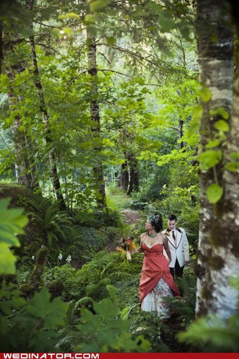bride,Forest,funny wedding photos,groom,nature