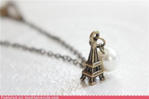 accessories eiffel tower Jewelry necklace pearl pendant - 5239232256