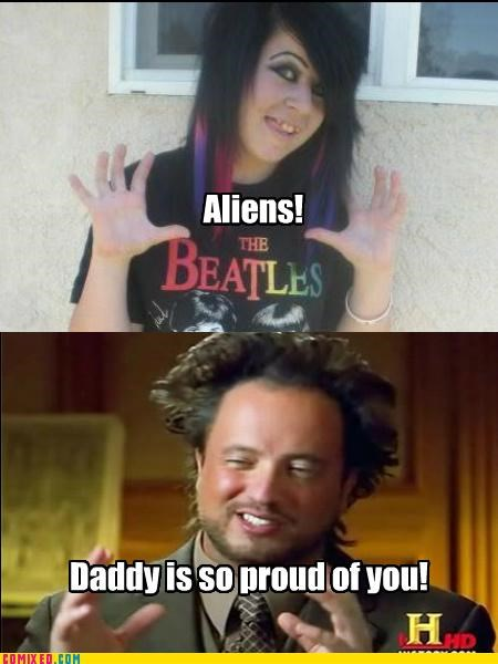 Aliens,apple,emo,girl,history channel,scene,the Beatles,the internets