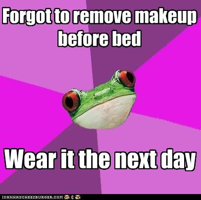fall asleep,foul bachelorette frog,makeup
