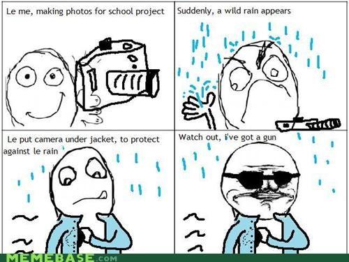 camera,gun,jacket,me gusta,Rage Comics,rain