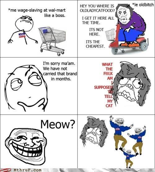 cat food,comic,customer service,customers,Hall of Fame,rage comic,wal mart