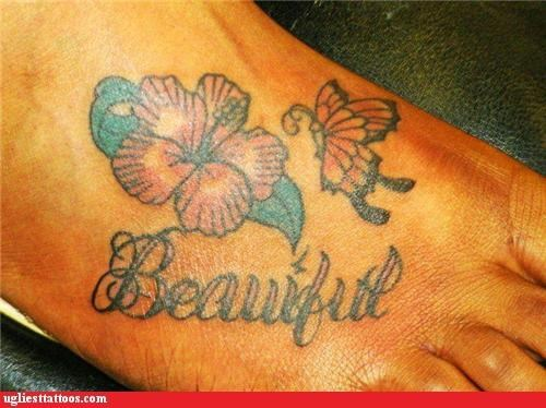 butterflies,flowers,foot tats,spell check,words