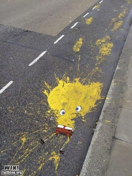 caartoon,graffiti,hacked irl,photoshop,pop culture,roadkill,SpongeBob SquarePants,Street Art