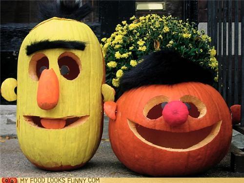 bert ernie,funny food photos,halloween,muppets,pumpkins,Sesame Street
