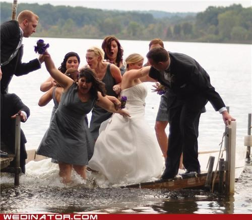 bride,bridesmaids,FAIL,funny wedding photos,lake,water