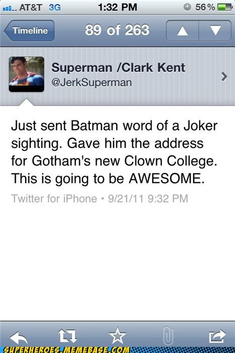 batman joker prank Random Heroics superman text - 5244347392
