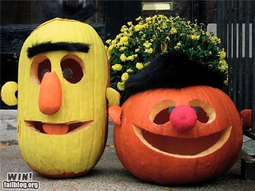 bert and ernie,carving,holiday,jim henson,pumpkins,puppet,Sesame Street