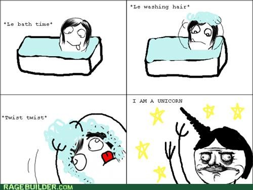 bath,hair,Rage Comics,unicorn