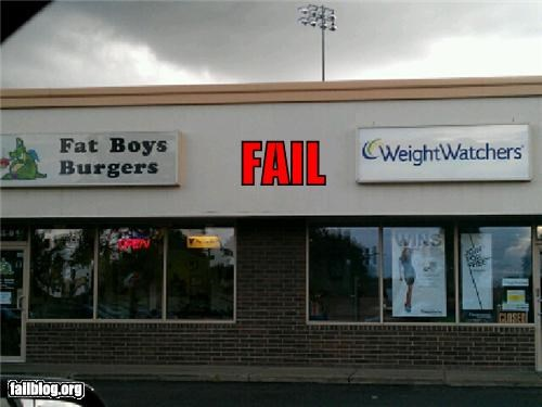 Fat Weight Weight watchers fail Fat Boy Burgers next too a Weight Watchers storefront