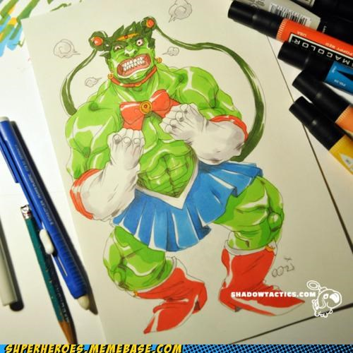 art,Awesome Art,best of week,hulk,sailor moon,wtf
