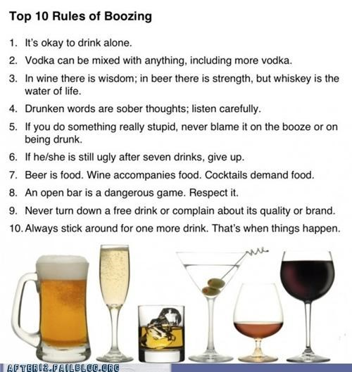 beer,booze,cocktail,good to know,open bar,rules,slurring,top 10,vodka,wine