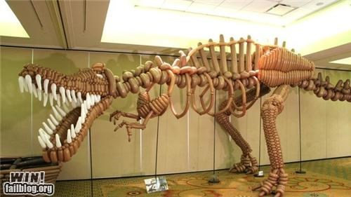 art,balloon,dinosaur,fossil,rawr,sculpture,skeleton