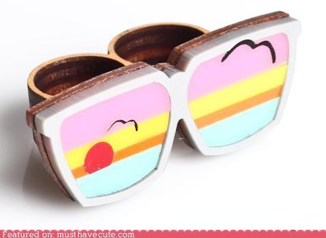 beautiful birds cute glasses ring - 5245067008