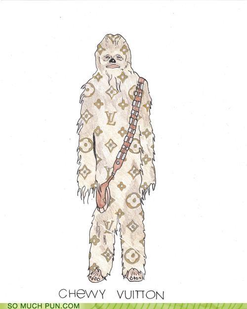 chewbacca chewy literalism logo Louis Vuitton rhyme rhyming similar sounding star wars wookie wookiee - 5245116416