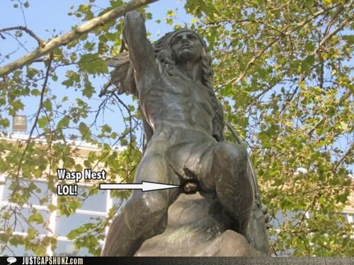 lol native americans statues wasp nest wasps wtf - 5245122048