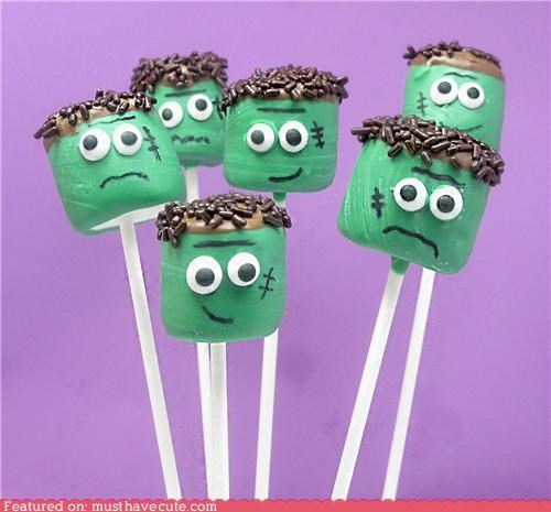epicute,food,frankenstein,halloween,marshmallow,monster,sticks