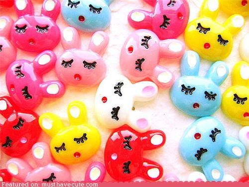 bunnies cabochons jewelery sleeping - 5246618368