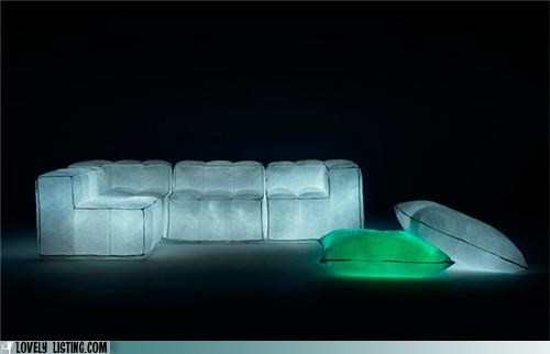 couch,cushions,glow,light,pillows