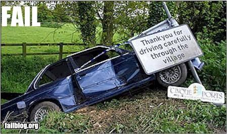 cars classic crash driving failboat g rated irony signs