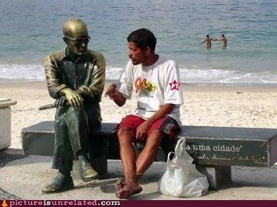 listener living statue talking wtf