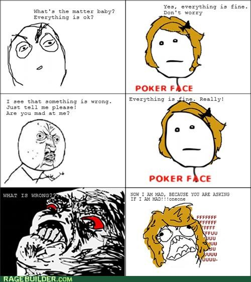 mad,poker face,Rage Comics,relationships
