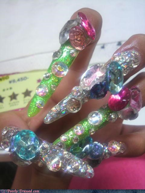 fingernails glitter jewels nails