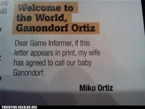 baby names,gamers,i bet she lost a bet,magazine
