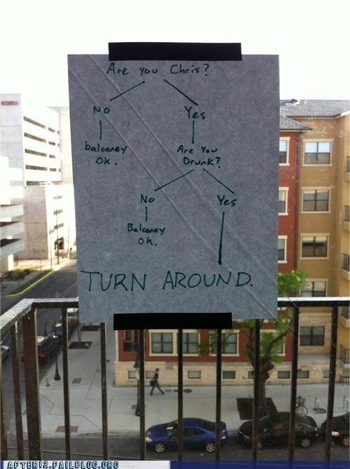 balcony drunk fall flowchart go back infographic turn around