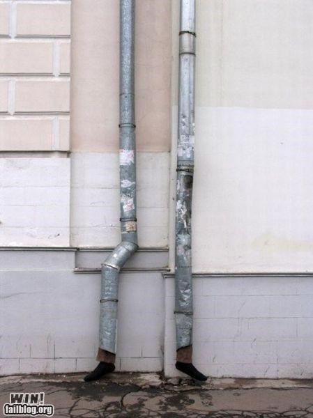 drain feet hacked irl installation pipe shoes Street Art tubes - 5248453376