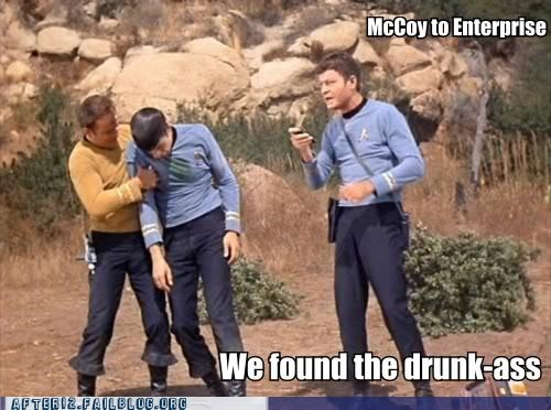 booze drunk enterprise hangover McCoy Party saturday night sci fi Spock Star Trek - 5248888064