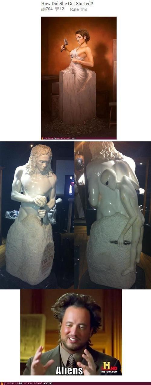 Aliens,makes sense,statue,wtf